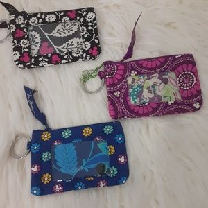 3- Disney Mickey zip ID cases Vera Bradley NWOT
